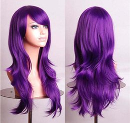 Wholesale Wholesale Big Hair Wigs - 2016 Big Discount Fashion Party Natural Wave Cosplay Wigs Full Lace Synthetic Wigs 70 cm Long Hair Wig For Women In Stock