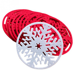 Wholesale Dinners Coaster - Wholesale- 10pcs lot Merry Christmas Snowflakes Cup Coaster Mat Christmas Decorations Dinner Party Dish Tray Pad for Xmas Table Decor