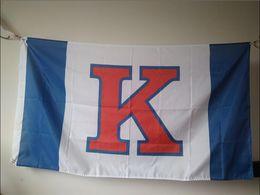 Wholesale Ku Jayhawks - Kansas Jayhawks Flag 90 x 150 cm Polyester NCAA Helmet KU Rock Chalk Outdoor Banner