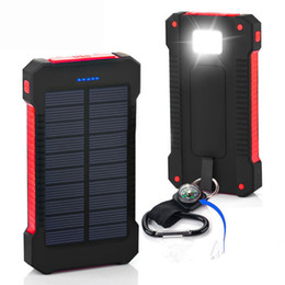 Wholesale Dual Usb Cell Phone Charger - Shock drop resistance Waterproof Solar Power Bank 10000mah Dual USB Bateria Externa Portable Solar Charger Powerbank for phone