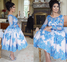 Wholesale Hottest Plus Size Models - Hot Sale Blue Ball Gown Cocktail Dresses Scoop Long Sleeve Sheer Neck Tea-Length Prom Dresses Evening Wear 2017 Appliques Beads Lace-Up Back