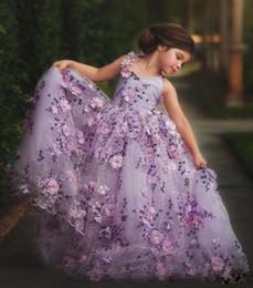 Bebés imágenes de flores online-Por encargo Imagen Real 100% Light Purple Flower Girl vestidos bordados hechos a mano Flower Girls vestidos del desfile de encaje hasta bebé vestido de comunión