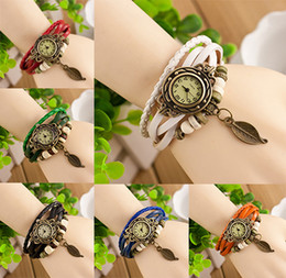 Wholesale Womens Black Leather Wrap Bracelet - New types Vintage Leaf pendant Quartz Bracelet Bangle Retro Lovely Womens Girl Weave Wrap Around Leather Watch Available Supply Hot Sale