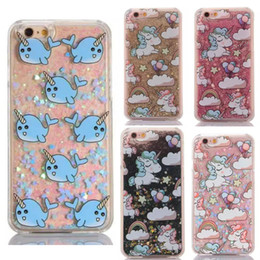 Wholesale Moving Case Iphone - Quicksand Bling Phone Case unicorn Liquid Moving Star Glitter Back Cover For Iphone 6 6S 7 7plus 5S note5 S7 S6 edge protector case GSZ303