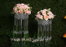 Wholesale Tall Crystal Flower Stands - 10pcs lot 70cm Tall Acrylic Crystal Wedding Centerpiece Silver Wedding Table Centerpiece Road Lead Flower Stand Party Decoration
