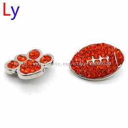 Wholesale Orange European Rhinestone Beads - Orange red rhinestone FOOTBALL DOG snap button jewelry charm popper for bracelet 12pcs lot noosa,jewelry making supplier NR0079