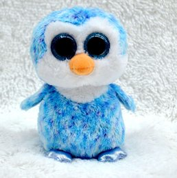Wholesale China Hot Doll - Wholesale- TY Beanie Boos sky-blue Penguin Big eyes Stuffed Plush baby doll 15cm Soft Mini lovely troll doll kid toy china hot sale