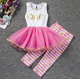 Wholesale Dress Polka Dot Pants - toddler clothes summer baby girls boutique clothing sets kids gold one birthday two princess dresses + polka dot pants stripe infant outfits