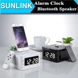 Wholesale Clock Radio Iphone Dock - LCD Digital FM Radio Alarm Clock Music Dock Charger Station Portable Audio Music Wireless Bluetooth Stereo Speaker for iPhone 5 5s 6 6s plus