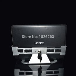 Wholesale Display Locks - Wholesale- Aluminum Alloy Anti Theft Laptop Display Stand With Security Lock and Key 13-19 inch Laptop Holder Bracket Tablet PC Holder