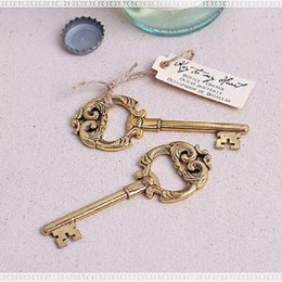 Wholesale Heart Wedding Favors Box - Key to My Heart Vintage Key Bottle Opener Gold Wedding Favors and gifts Party Guests gift box Presents wa2928