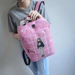 Wholesale Bow Lace Stamp - Manufacturers selling new female stamp backpack cartoon Nylon Backpack schoolbag printed canvas bag