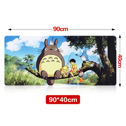 Wholesale Totoro Wholesale Japan - Wholesale- Large Size 900*400*3MM Totoro Speed Game Mouse Pad Mat Laptop Gaming Mousepad