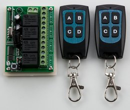 Wholesale Remote Receiver 12v Garage - Wholesale- DC 12V 10A 4CH RF Wireless Relay Remote Control Switch 315 MHZ  433 MHZ 2*Transmitter&1* Receiver for garage door   window  lamp