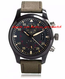 Wholesale Chronograph Pilot Watch - Fashion Luxury 46 mm Pilots Anthracite Dial Chronograph Ceramic IW3880-02 Men Men's watch MAN WATCH Wristwatch