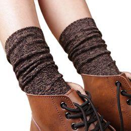 Wholesale Blue Acrylic Tube - Wholesale-women long socks for winter Women Boot In Tube Socks Vintage Thick Knitting Socks Leg Warmers calcetines mujer largos