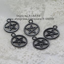 Wholesale Pentagram Metal - Wholesale-Black Gun Plated Metal Zinc Alloy Pentagram Charms DIY Jewelry Pendant Making Wholesale 30pcs 21*26mm 7778