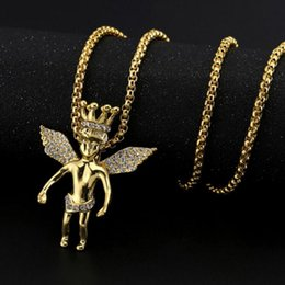 Wholesale Crystal Angels - New Arrivals Hip Hop 18K Gold Plated Crown Angel Wing Pendant Necklace Full Crystal Fashion Jewelry for Men and Women