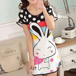 Wholesale Women Cotton Nightgowns - 2017 Women Cotton Sleepshirts Summer Short Sleeved Lovely Printed Cartoon Animals Rabbit Indoor Nightgown Sleepwear Free Size