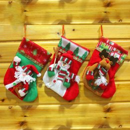 Wholesale Snowman Gifts Make - 2018 Hand Made Craft Children Candy Gift Santa Bag Claus Snowman Deer Stocking Sock Xmas Tree Decoration Christmas Stockings-014