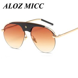 Wholesale Personality Glasses For Women - ALOZ MICC Brand Sunglasses for Women Oversized Semi- Rimless Designer Sunglasses Vintage Unique Personality Glasses Luxury Eyewear UV400 A13