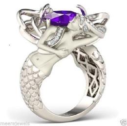 Wholesale Ring Amethyst 925 - 2017 New Arrival Luxury Jewelry Fashion 925 Sterling Silver Wholesale Amethyst Gemstones Cushion Shape Wedding Women Mermaid Ring Size5-