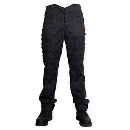 Wholesale Gothic Victorian Fashion - Wholesale- Devil Fashion Victorian Gothic Black Soft Male High Waisted Trousers Man Retro Lolita Lace Up Long Pants Embroidered Detailing