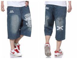 Wholesale Denim Short Pants Harem - Wholesale- 2015 Brand Hip Hop Harem Baggy Pants Summer Men Denim Jeans Shorts Skate Denim Jeans Shorts for Men Plus Size 30-46 FS4935