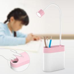 Wholesale Usb Pen Holder - Padlock Design Desk Lamp Lighting Functional USB Rechargeable Touch Sensor LED Desk Lamp Light Kids with Pen Holder Desk Lamp ZJ0628