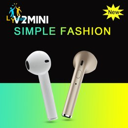 Wholesale High Headphones - HBQ V2 Bluetooth Headphone Cheap With High Quality Earphone Wireless In Ear Headphone Single Earbud Airpod Headset For Iph one X 7 Samsung 8