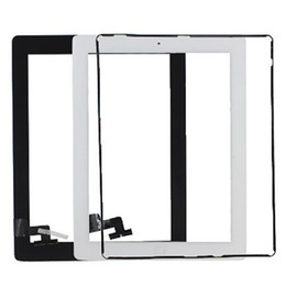 Wholesale Ipad2 Adhesive - Touch Screen Glass Panel with Digitizer Buttons Adhesive for iPad 2 3 4 Black and White DHL Free Shipping