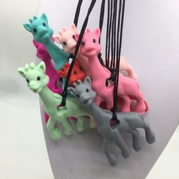 Wholesale Giraffe Horns - toys NEW! 5pcs lot Mix colors giraffe teething pendant necklace BPA FREE Toy -silicone Giraffe teether