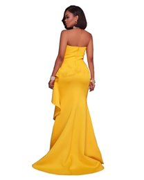 Wholesale Xl Tube Top - 2017 European Major Suit Women Sexy Party Dresses Fashion Suit-dress Yellow Easy Self-cultivation Tube Top Skirt cheap