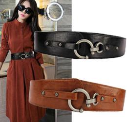 Wholesale Wide Red Elastic Belt - 2017 Fashion Belt Women's Decorate Elastic Belt Wide Stretch PU Leather belts Girl Ceinture Black brown Womans Belts