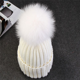 Wholesale Mink Fur Hats Women - New hot mink and fox fur ball cap pom poms winter hat for women girl 's wool hat knitted cotton beanies cap brand new thick female cap