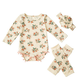 Wholesale Warm Baby Onesies - 2017 INS baby girl toddler kids Summer clothes 3piece sets Tassels Rose Floral Romper Onesies Jumpsuits Diaper Cover + Leg warmer + headband