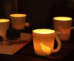 Wholesale Animal Ceramic Mugs - Free Shipping+Cute kinto animal cup frosted ceramic candlestick&mug,36pcs lot