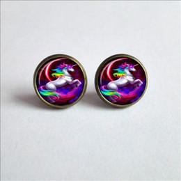 Wholesale photo earrings - 2017 New Fantasy Unicorn Earrings Fantasy Unicorns and Pegasus Photo Ear Stud Unicorn Earring Glass Dome Earrings For Women