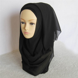 Wholesale Muslim Wholesalers China - Wholesale-41 Colors Muslim Islamic Plain Chiffon Hijab Large Scarf Wrap shawl Can Choose Colors retail wholesale 1pc lot made in China