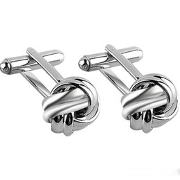 Wholesale Knot Cufflinks Cuff Links - Knot Cufflinks for Men Shirt Cufflinks Gold Silver Plated Unique Business Wedding French Grooms Shirt Brand Copper Cuff Links 6