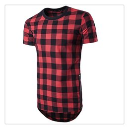 Wholesale Man Zipper Shirt Red - T Shirts for Men 2017 Summer Fashion Lattice Hip Hop O-neck Short Sleeve Brand Long T Shirts US Sizes:XS-L