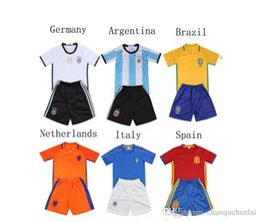 Wholesale Wholesale Kids Football Jerseys - Children football tracksuit Netherlands Italy soccer jerseys survetement training kids Super clothes boys summer sets children clothing kit