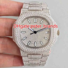 Wholesale Watch Hip Hop - NEW Full iced out hip hop rappers watch automatic best grade men's luxury wristwatch stainless steel silver diamonds case 40mm watches