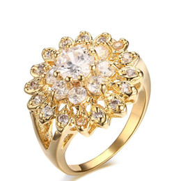 Wholesale Womens Bling - Meaeguet Jewelry Womens Gold Plated CZ Rings Copper Flower Shape Bling Cubic Zirconia Ring for Wedding Promise Engagement Ring RT-007