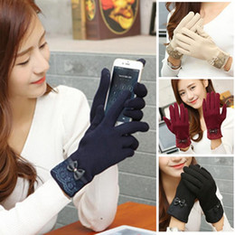 Wholesale Wholesale Fingerless Gloves Cotton - Wholesale- Winter Gloves Female Ladies Girls Screen Mittens Sheep Wool Glove Mitten