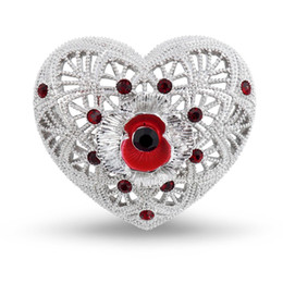 Wholesale Red Filigree - 1.2 Inch Filigree and Poppy and Heart Brooch with Red Enamel and Crystals White Gold Tone