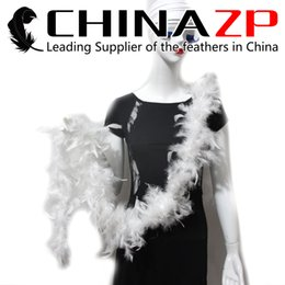 Wholesale white feather boas - Newest Plumage Exporting CHINAZP Crafts Factory 2yards lot 40G Beautiful White Turkey Chandelle Feather Boas for Wedding Party