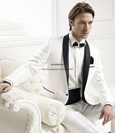 Wholesale Shawl Collar Dress Suit Men - Hot sale tuxedos White men dress Shawl collar groom suits wedding suits(Jacket+Pants+bowtie)