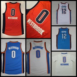 Wholesale 2017 New Russell Westbrook Basketball Jerseys Orange Russell Westbrook Steven Adams Shirts Stitched Basketball Jersey Cheap Mens S XXL