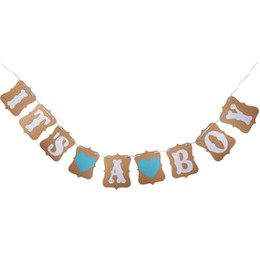 Wholesale Baby Boy Bunting Banner - Wholesale- IT IS A BOY LOVE HEART Paper Garland Bunting Banner Rustic Christening Baby Shower Garland Decoration Birthday Party Favors